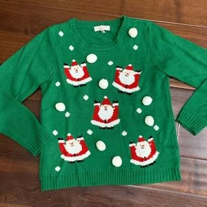 Ugly Christmas sweater Santa snowball fight
